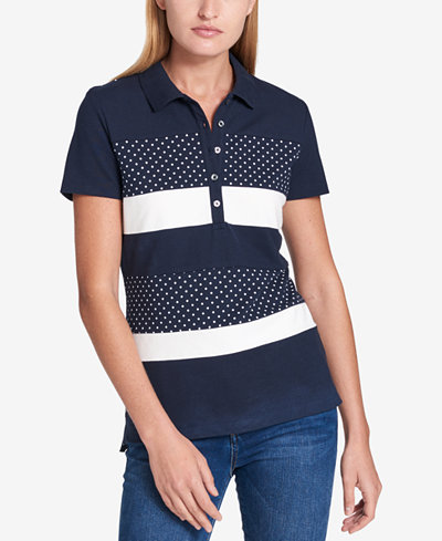 Tommy Hilfiger Colorblocked Polo Top, Created for Macy's