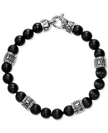 Scott Kay Men's Onyx Bead & Rondelle Bracelet in Sterling Silver