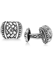 Men's Weave-Style Cuff Links in Sterling Silver