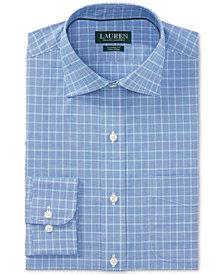 Lauren Ralph Lauren Men's Classic/Regular Fit Non-Iron Mediterranean/Sapphire Plaid Dress Shirt
