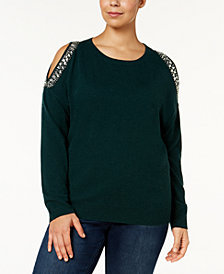 I.N.C. Plus Size Embellished Cold-Shoulder Sweater, Created for Macy's