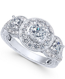 Diamond Triple Halo Engagement Ring (2 ct. t.w.) in 14k White Gold