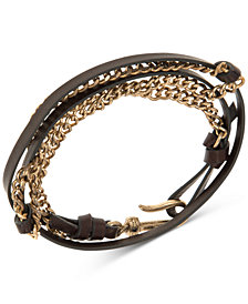 R.T. James Men's Leather & Chain Wrap Bracelet, Created for Macy's