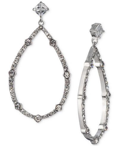 Carolee Silver-Tone Cubic Zirconia Drop Hoop Earrings