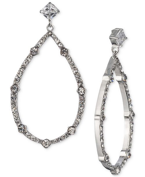 Carolee Silver-Tone Cubic Zirconia Drop Hoop Earrings