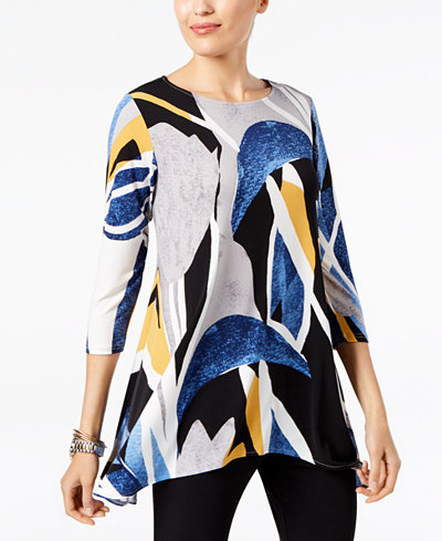 Alfani Petite Printed Asymmetrical-Hem Tunic, Created for Macy's