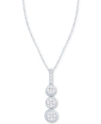 Diamond Triple Cluster Pendant Necklace (1/5 Ct. T.W.) In 10k White Gold by Macy's