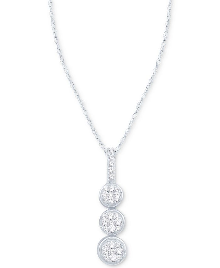 Macy's - Diamond Triple Cluster Pendant Necklace (1/5 ct. t.w.) in 10k White Gold