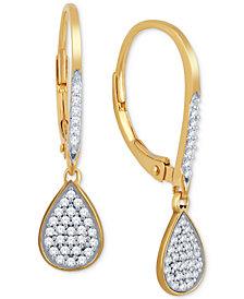 Diamond Teardrop Pavé Drop Earrings (1/5 ct. t.w.) in 10k Gold