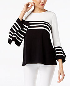Alfani Striped Bell-Sleeve Sweater, Created for Macy's