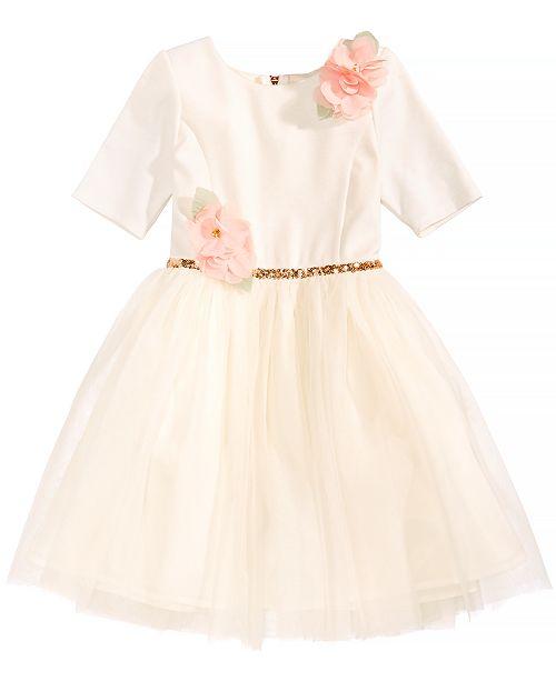 5e3c17107 Pink   Violet Floral-Appliqué Ballerina Dress