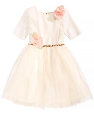 Pink & Violet Floral-Applique Ballerina Dress, Little Girls 5460256