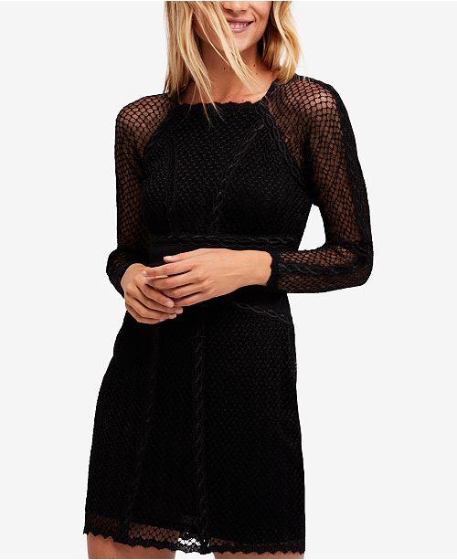 Free People Mixed-Mesh Illusion Bodycon Dress