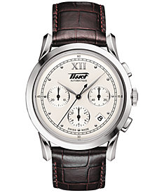 Tissot Men's Swiss Automatic Chronograph Heritage 1948 Brown Leather Strap Watch 39.5mm