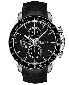 Men's Swiss Automatic Chronograph T-Sport V8 Black Leather Strap Watch 45mm