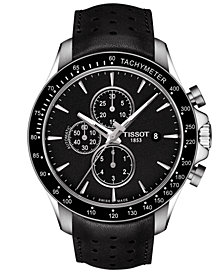 Tissot Men's Swiss Automatic Chronograph T-Sport V8 Black Leather Strap Watch 45mm