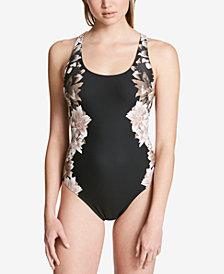 Calvin Klein Black Lily Printed One-Piece Swimsuit