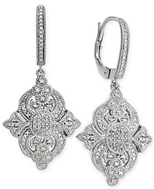 Diamond Filigree Drop Earrings (1/7 ct. t.w.) in Sterling Silver
