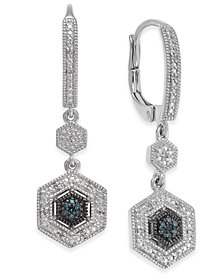 Diamond Geometric Drop Earrings (1/10 ct. t.w.) in Sterling Silver
