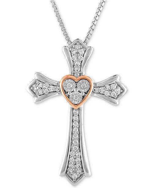 Macy's Diamond Cross Pendant Necklace (1/10 ct. t.w.) in Sterling Silver & 14k Rose Gold