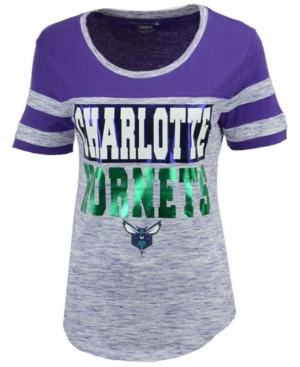 5th & Ocean Women's Charlotte Hornets Space Dye Foil T-Shirt