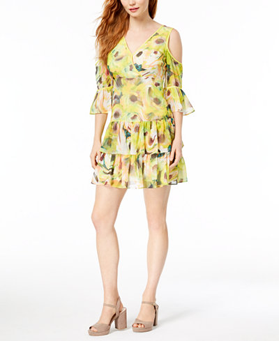 Bar III Cold-Shoulder Ruffled Mini Dress, Created for Macy's