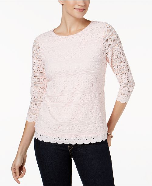 Charter Club 3/4-Sleeve Lace Top, Created For Macy's