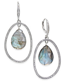 Paul & Pitü Naturally Silver-Tone Pavé & Gray Stone Orbital Drop Earrings