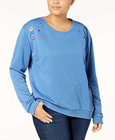 Moral Fiber Trendy Plus Size Grommet-Trim Tunic Sweatshirt