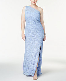 Morgan & Company Trendy Plus Size One-Shoulder Lace Gown