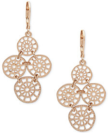 lonna & lilly Gold-Tone Filigree Disc Chandelier Earrings