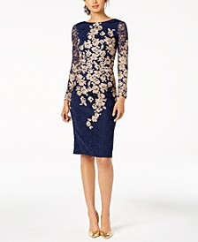 Petite Embroidered Lace Sheath Dress