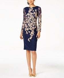 XSCAPE Petite Embroidered Lace Sheath Dress