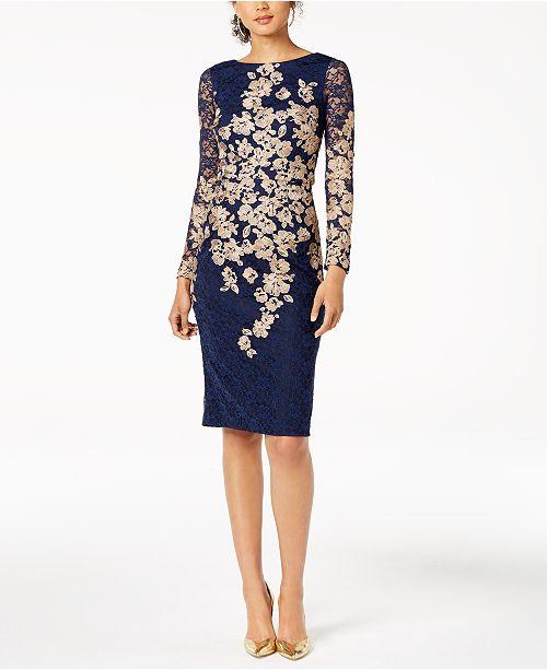 fb9a3de8 XSCAPE Petite Embroidered Lace Sheath Dress & Reviews - Dresses ...