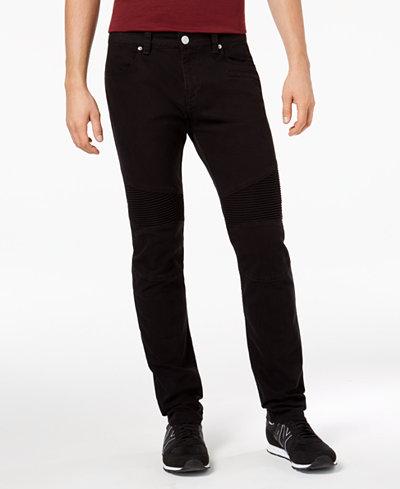 Armani Exchange Men's Slim Straight Fit Stretch Moto Jeans