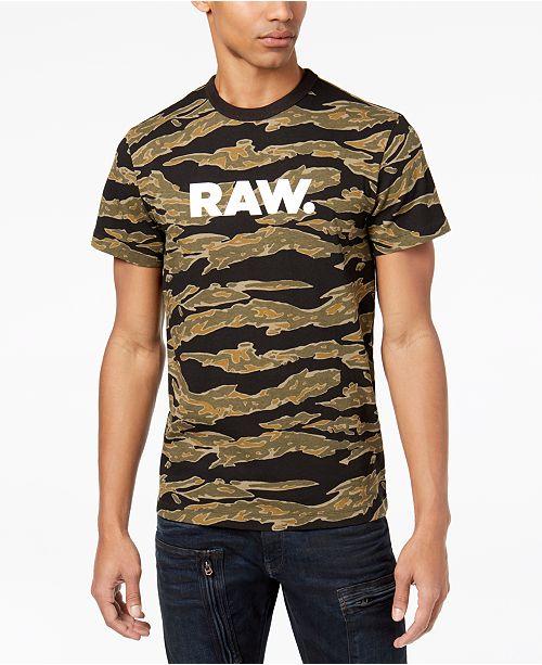 97551d95b3 G-Star Raw Men s Logo-Print Camo T-Shirt   Reviews - T-Shirts - Men ...