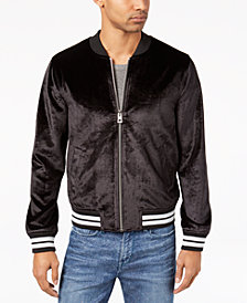 GUESS Men's Metallic Bonded Velvet Full-Zip Jacket