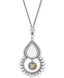 Lucky Brand Silver-Tone White & Brown Stone Pendant Necklace
