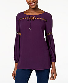 Love Scarlett Petite Beaded Cutout Tie-Neck Tunic, Created for Macy's