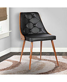 Lily Mid-Century Dining Chair in Walnut Finish and Gray Faux Leather