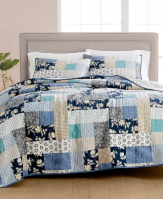 CLOSEOUT! Contrast Patchwork Cotton Reversible Twin Quilt, Created for Macy's