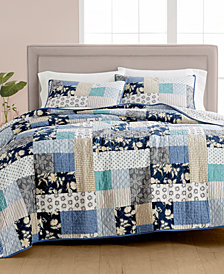 CLOSEOUT! Martha Stewart Collection Contrast Patchwork Cotton Reversible Quilt and Sham Collection, Created for Macy's
