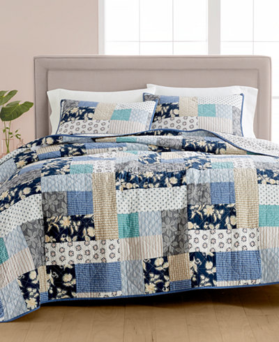 Martha Stewart Collection Contrast Patchwork Cotton Reversible ... : quilts at macys - Adamdwight.com
