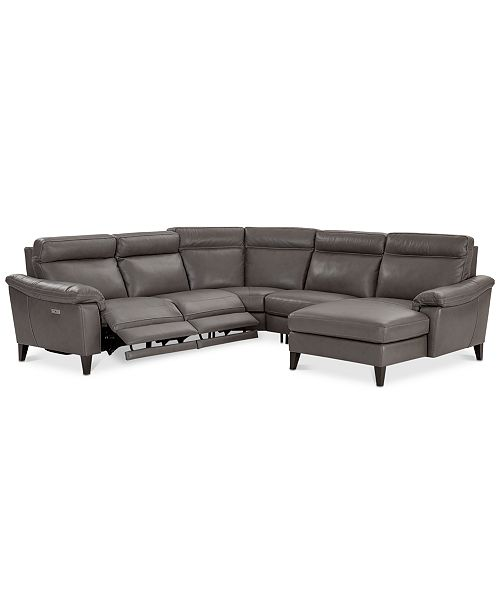 Marvelous Pirello Ii 5 Pc Leather Sectional Sofa With Chaise 2 Power Recliners With Power Headrests And Usb Port Created For Macys Dailytribune Chair Design For Home Dailytribuneorg