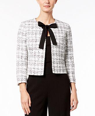 Tie Front Tweed Jacket by Nine West