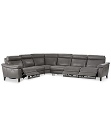 Pirello II 6-Pc. Leather Sectional Sofa With 3 Power Recliners with Power Headrests and USB Port, Created for Macy's