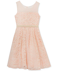 Rare Editions Pearl-Trim Lace Dress, Big Girls Plus