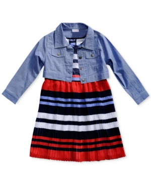 Sweet Heart Rose 2Pc Striped Dress  Denim Jacket Set Little Girls (46X)