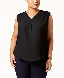 Nine West Plus Size Crepe V-Neck Top