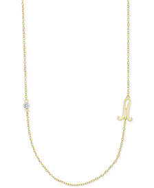 Diamond Accent Initial Pendant in 18k Gold-Plated Sterling Silver